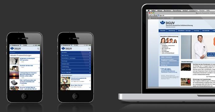 Mobile Webseite der DGUV